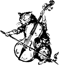 A cat playing a violin like a cello