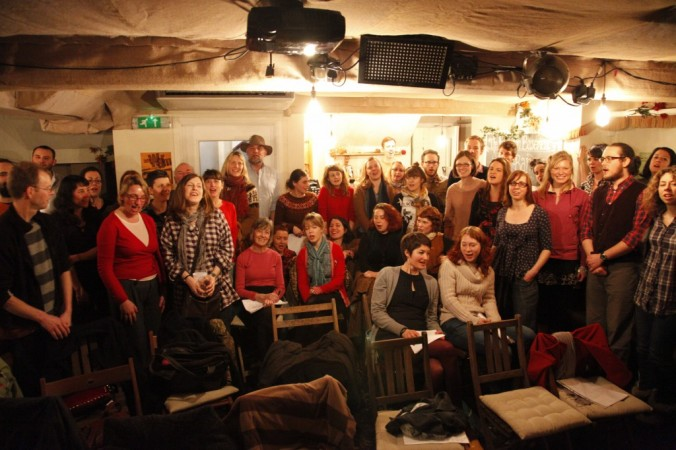 The first ever Trad Academy Sea Shanty choir workshop at the Harrison pub Kings Cross